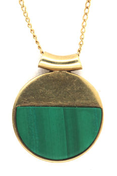 Necklace tank necklace made of 585 yellow gold and pendant with malachite made of 333/8 kt yellow gold