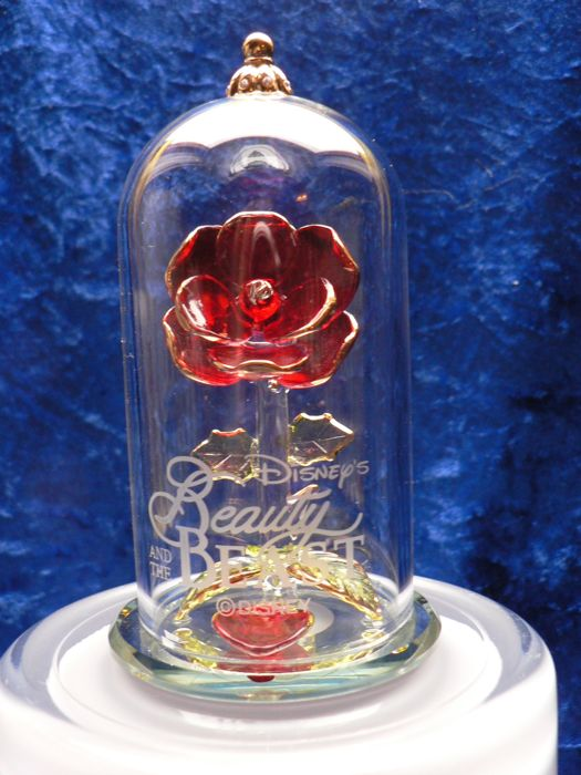 Disney Glass Rose Beneath Dome Arribas Beauty And The Beast