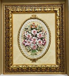 Classic Capodimonte Porcelain Picture 65 x 55 cm composed of Roses and mixed Flowers, with pear wood frame