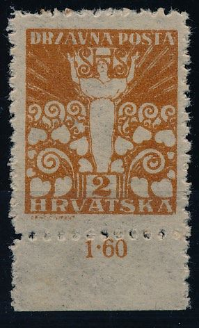 Croatia - SHS - 1919 - 2 filir yellow-orange, Michel no. 88 from the second Printing plate with photo certificate Zrinjscak
