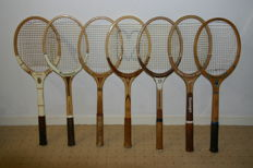 Collection of seven vintage wooden tennis rackets