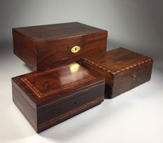 Three old wooden boxes, late 19th century and later