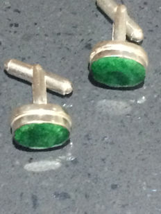 Vintage  Indian Faceted Emerald men's cuff links