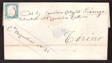 Sardinia, 1855/1862 - 20 Cent.  light cobalt blue on letter from Alessandria to Turin - Sass.  N°  15c