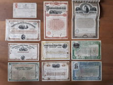 10  x  USA railroad shares and bond  1870-1899  (Little Miami,  Northern Pacific, Utica and Black River etc.)