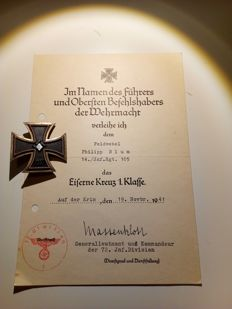Iron cross 1939 1st class with manufacturer and charter!!!!
