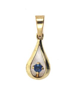 Droplet-shaped pendant with sapphire made of 333 / 8 kt yellow gold