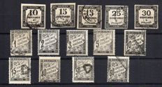 France 1859/78 - Selection of 14 Tax Stamps - Yvert between no. 2 and 21