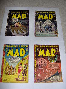 "MAD - E.C. Comics (US) - #6 (Key issue) + #7 + #9 +  #10 - Golden Age ""Tales calculated to drive you MAD"" - 4x SC - (1953/1954)"