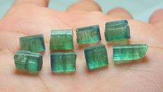 Blue terminated green and watermelon tourmaline crystals.  L 0,7-1,1 cm,,W 0,7-0,8 cm.   30 ct