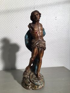 Resurrected Christ in a blue coat Polychrome wood sculpture Popular work Probably - France - late 18th century.