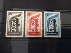 Luxemburg 1956 - Scaffolding, Michel 555/557 collection on stock cards