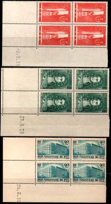 France 1930 – Lot of 9 with dated corners