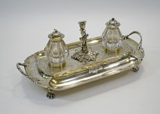 Large silver ink stand, Paris 1781, with London 1844 additions