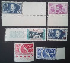 France 1924-33 - Selection of 6 stamps including one signed by Roumet - Yvert #296, 326, 327, 398, 493 and air mail 33