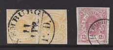 """Luxembourg 1859 - selection of stamps from the """"national coat of arms"""" series, imperforate - Michel 5 in pair and 7"""