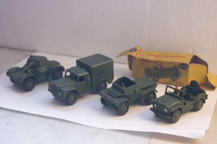 Dinky Toys - Scale 1/48 - Austin Champ no.674 - Daimler Armoured Car no.670 - Daimler Scout Car no.673 - Army 1-Ton Cargo Truck no.641