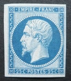 France 1862 - Reprint of the 25c blue Prince President Louis Napoleon Signed Calves with digital certificate - Yvert no. 15c