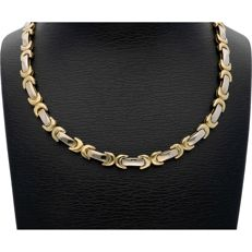 14 kt - Bi-colour link necklace with alternating white and yellow gold links. The necklace is 4 mm wide - Length: 45.4 cm