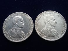Germany - 5 silver marks, years 1913 and 1914 - William II of Prussia - 2 coins.