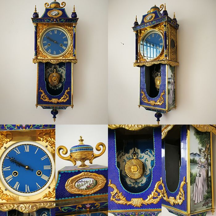 cloisonne  well Clock -  20th century