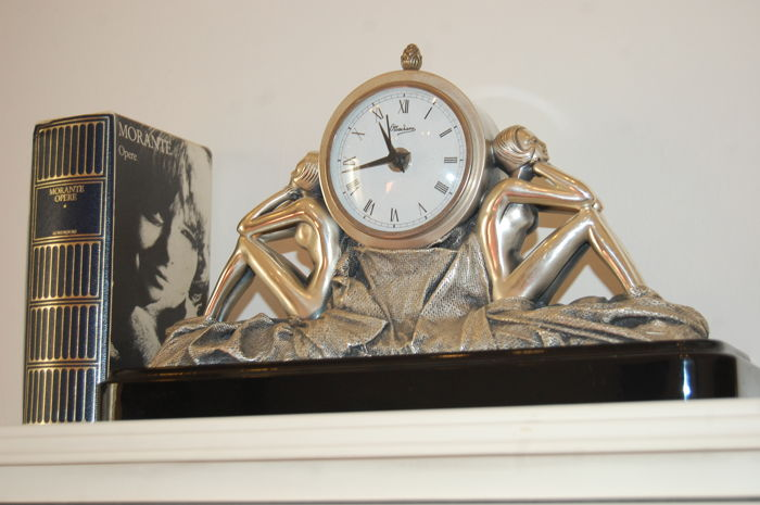 "Large tabletop clock with sculptures in Art Deco style revival, signed by ""Ottaviani"". 1970s-80s"