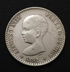 Spain - Alfonso XIII - 50 cents of silver - 1892 - stars 8-2 - assayer PGM