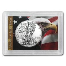 USA - 1 dollar 2017 US Mint - 1 oz 2017 American Silver Eagle - flag - in Harris holder - 999 silver coin