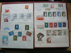 The Netherlands 1953/1956 - Selection of 8 FDCs between NVPH E12 and E25