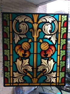 Stained glass window with acanthus motif - around 1890.