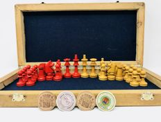 Pear wood chess, c. 1930, with coin stamps from the Spanish Republic.