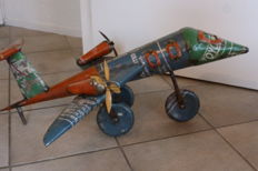 Plane made from recycled tin - 84 cm. long