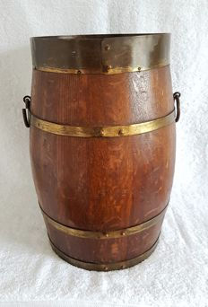 Large wooden (wine) barrel with brass fittings, the Netherlands, second half of the 20th century