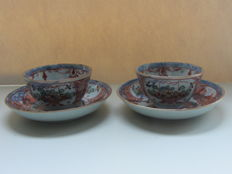 Two Chinese Amsterdam coloured cup and saucers - China - 18th century,