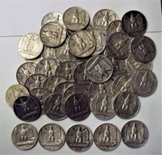 Italy, Kingdom - 5 Lire 'Eagle' 1926/1930 (lot of 45 coins) - silver