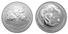 Australia - 1 Dollar 2008 'Year of the Mouse', 1 Dollar 2012 'Year of the Dragon' - 2x 1oz silver