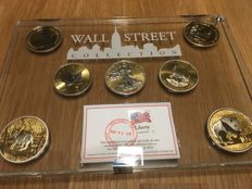 World - Batch of 7 coins 'Wall Street collection 2016' gold and platinum ennobled - silver