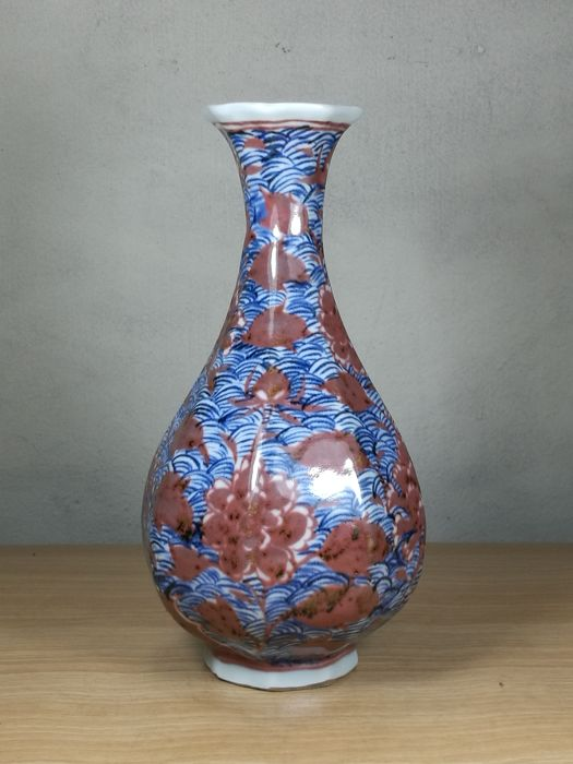 Decorative Chinese Vase Blue White With Red Flower China Late
