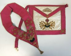 Freemasonry - hand-embroidered apron and sash with medal