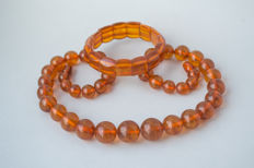 Set of natural Baltic Amber necklace and bracelet in honey colour Amber, 68 gram
