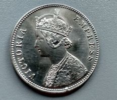 British India - Rupee 1885 and 1911 Victoria and George V - silver