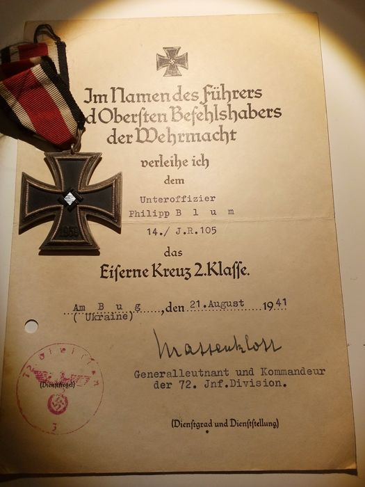 Iron Cross 2nd class 1939 with certificate