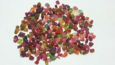Beautiful Mixed Color Rough Tourmaline Crystals Lot.  4-11 mm.  343 ct.