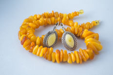 Set of Natural Baltic Amber necklace and earrings, butterscotch, egg yolk Amber, weight: 52 gram