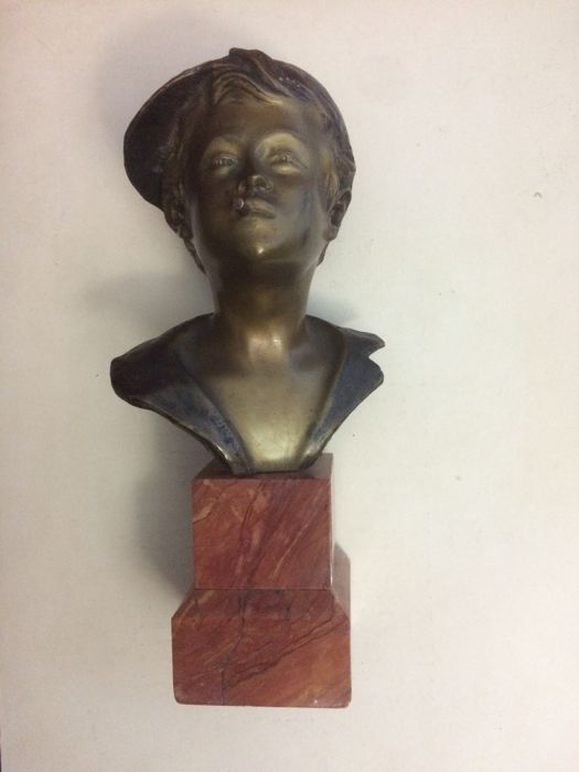 "Original bronze bust with marble base depicting ""Lo scugnizzo napoletano"", 1950s"