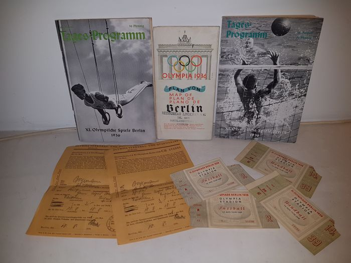 1936 Olympic Games lot, entrance tickets to football and handball, floor plans, programmes and Quartierkarte Germany 1936