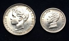 Spain - 1 Peseta 1900 + 50 Centimes 1904 - Alfonso XIII (2 pieces) - silver