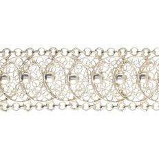 835/1000 - Silver tooled link necklace - Length: 19 cm