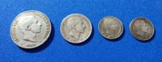 Spain - Lot of 4 coins Alfonso XII 50, 20 and 10 cent of peso Philippines of 1855 and 10 cent of peso 1883