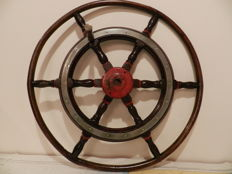 Antique wooden ship's wheel - Netherlands - early 20th century